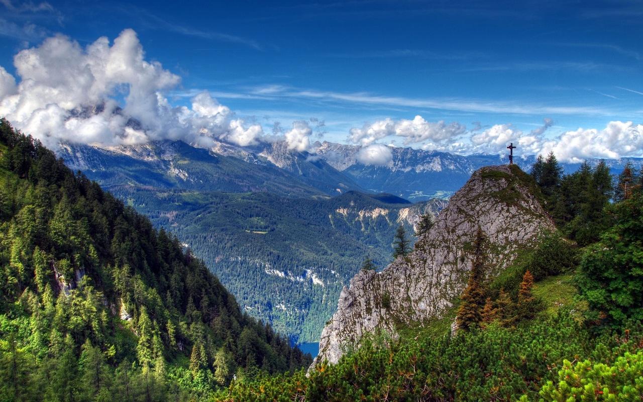 природа, горы, деревья