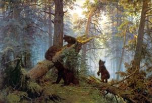 "Иван Шишкин, Константин Савицкий ""Утро в сосновом лесу"". 1889 г."