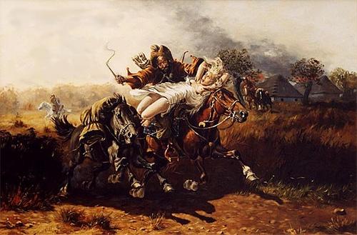 Эта картина сильно романтизирует работорговлю. Татары действительно запрягали запасных лошадей, но большинству пленных приходилось идти пешком в ужасных условиях