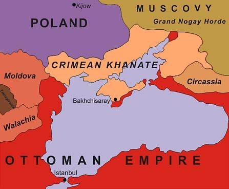 Крымское Ханство и его ближайшие соседи в 1600 году.