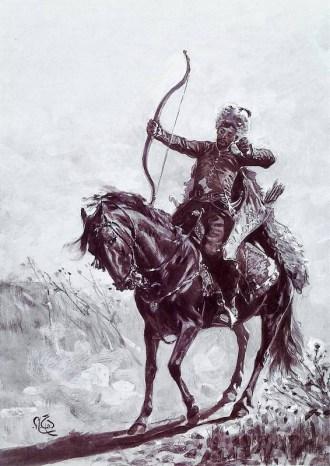 Крымскотатарский воин со знаменитым изогнутым луком,который был на протяжении веков главным оружием татаро–монгольских народов. Водин набег могло отправиться до 30 000 таких воинов.
